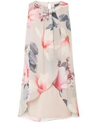 Dorothy Perkins - Billie & Blossom Grey Floral Trapeze Dress - Lyst