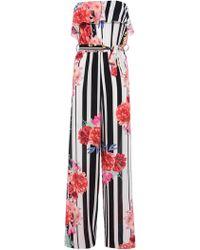 Dorothy Perkins - Quiz Cream Floral And Stripe Print Jumpsuit - Lyst