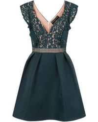 Dorothy Perkins | Little Mistress Teal Lace Bodice Prom Dress | Lyst