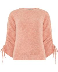 Dorothy Perkins - Petite Pink Ruched Sleeve Jumper - Lyst
