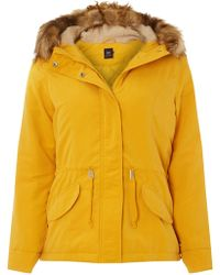Dorothy Perkins - Only Mustard Faux Fur Parka Coat - Lyst