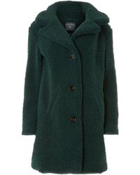 Dorothy Perkins - Green Button Front Teddy Coat - Lyst