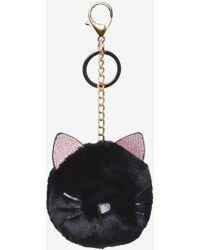 Dorothy Perkins - Black Cat Pom With Keychain - Lyst