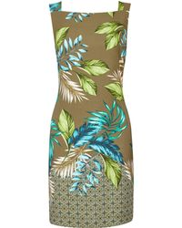 Dorothy Perkins - Khaki Leaf Print Boarder Shift Dress - Lyst