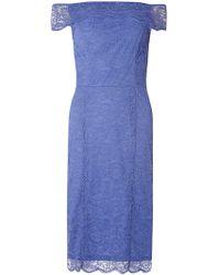 Dorothy Perkins - Tall Blue Bardot Lace Pencil Dress - Lyst