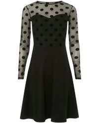 Dorothy Perkins - Tall Black Flock Mesh Fit And Flare Dress - Lyst
