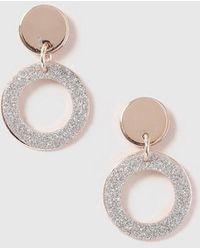 Dorothy Perkins - Glitter Ring Drop Earrings - Lyst