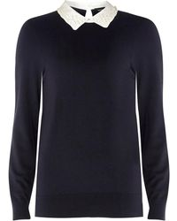 Dorothy Perkins - Navy Pearl Collar 2-in-1 Jumper - Lyst