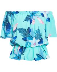 Quiz - Turquoise Floral Print Bardot Top - Lyst
