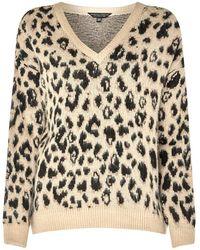 Dorothy Perkins - Beige Brushed Leopard Print V-neck Jumper - Lyst
