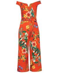 Dorothy Perkins - Quiz Orange Floral Print Bardot Jumpsuit - Lyst