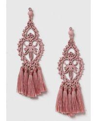 Dorothy Perkins - Pink Filigree Tassel Earrings - Lyst