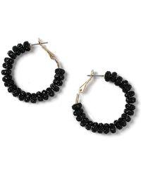 Dorothy Perkins - Black Bead Hoop Earrings - Lyst