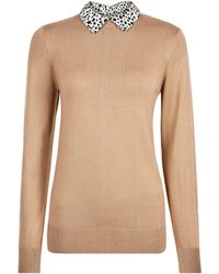 Dorothy Perkins Camel Leopard Print Collar 2-in-1 Jumper - Natural