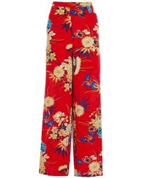 Dorothy Perkins - Quiz Red Floral Print Plazzo Wide Leg Trousers - Lyst