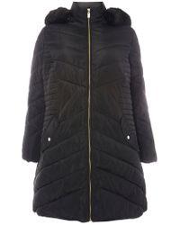 Dorothy Perkins - Dp Curve Black Faux Fur Puffa Jacket - Lyst