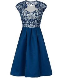 Dorothy Perkins - Chi Chi London Blue Lace Bodice Midi Dress - Lyst