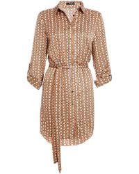 54dcf7d2802f Dorothy Perkins - Quiz Stone And Cream Geometric Print Shirt Dress - Lyst