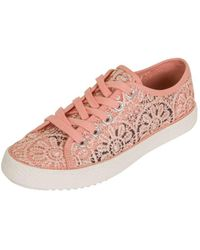 Dorothy Perkins - London Rebel Nude Lace Up Trainers - Lyst