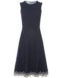 Dorothy Perkins - Tall Navy Spotted Lace Hem Skater Dress - Lyst