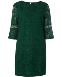 Dorothy Perkins - Green Lace Trim Detail Shift Dress - Lyst