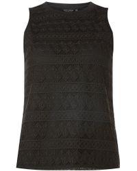 Dorothy Perkins - Black Geometric Lace Shell Top - Lyst