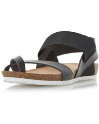 Dorothy Perkins | Head Over Heels By Dune Black Laury Flat Sandals | Lyst