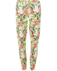 Dorothy Perkins - Tall Ivory Tropical Print Pique Trousers - Lyst