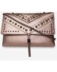 Dorothy Perkins - Pewter Studded Tassel Clutch Bag - Lyst