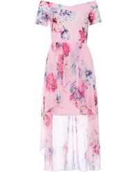 7ae060bde8d Lyst - Dorothy Perkins Quiz Navy And Pink Floral Shirt Dress in Blue