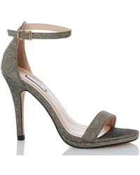 c7cd66e34f Dorothy Perkins - Quiz Bronze Shimmer Heeled Sandals - Lyst