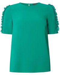 Dorothy Perkins   Green Frill Sleeve Woven T-shirt   Lyst