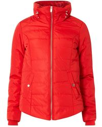 Dorothy Perkins - Red Faux Fur Collar Padded Jacket - Lyst