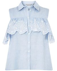 Dorothy Perkins - Broderie Frill Blouse - Lyst
