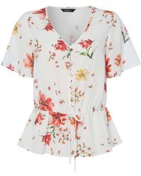 854a76f6088d24 Dorothy Perkins - Roman Originals Floral Print Tea Blouse - Lyst