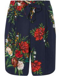 Dorothy Perkins - Tall Navy Floral Print Shorts - Lyst