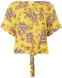 Dorothy Perkins - Ochre Print Tie Top - Lyst