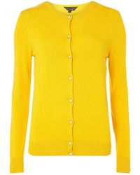 Dorothy Perkins - Yellow Faux Pearl Embellished Button Cardigan - Lyst