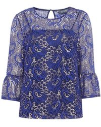 Dorothy Perkins - Tall Cobalt Lace Flute Sleeve Top - Lyst