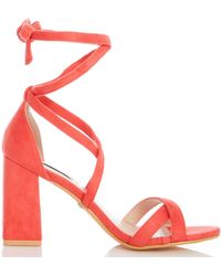 4f5f86a24ff Dorothy Perkins - Quiz Coral Tie Up Block Heel Sandals - Lyst