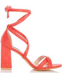 8bc5747ab5 Dorothy Perkins - Quiz Coral Tie Up Block Heel Sandals - Lyst