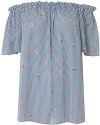 84b625cc6b02 Dorothy Perkins - Dp Curve Blue Stripe And Floral Print Bardot Top - Lyst
