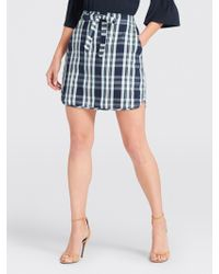 Draper James - Plaid Drawstring Mini Skirt - Lyst