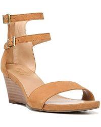 d1a5e7ce7d1a Lyst - Franco Sarto Danissa Women Open Toe Leather Tan Wedge Sandal ...