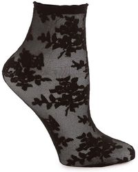 Memoi - Sheer Rose Ankle Socks - Lyst
