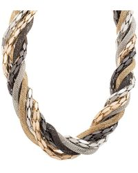 Steve Madden - Wrapped Chain Bib Necklace - Lyst
