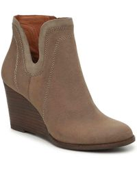 980417f14e0 Lyst - Lucky Brand Women s Taheeti Wedge Bootie in Brown