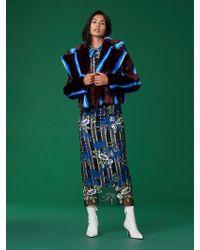 Diane von Furstenberg - Long Sleeve Collared Faux Fur Jacket - Lyst