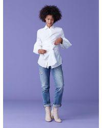 Diane von Furstenberg Sinclair Oxford Cotton Poplin Top - White