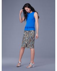 Diane von Furstenberg - Sleeveless Knit Peplum Top - Lyst